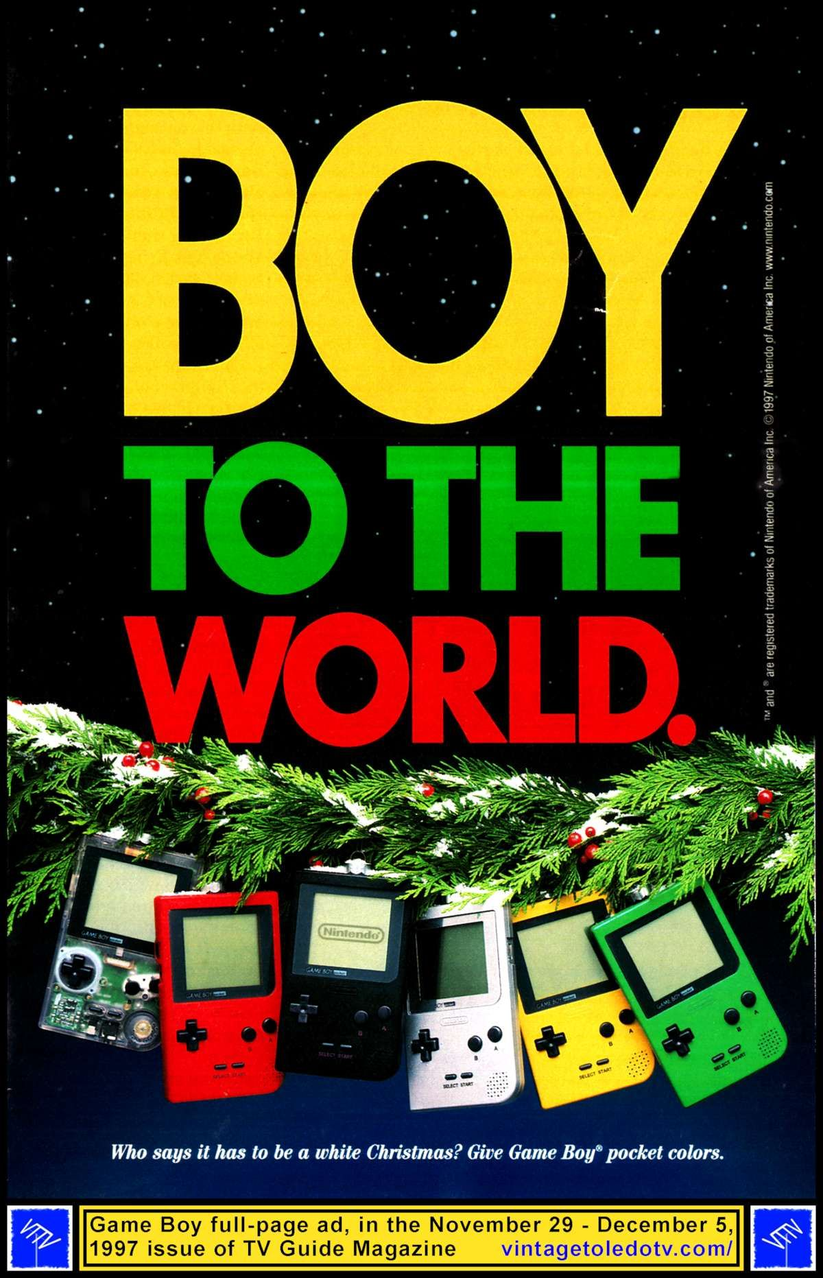 Gameboy color ad - Vintage Toledo Tv Holiday Ads Boy To The World Game Boy