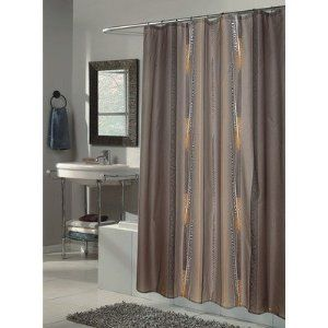 Carnation Home Fashions Catherine Extra Long Printed Fabric Shower Curtain 70 Inch By 84