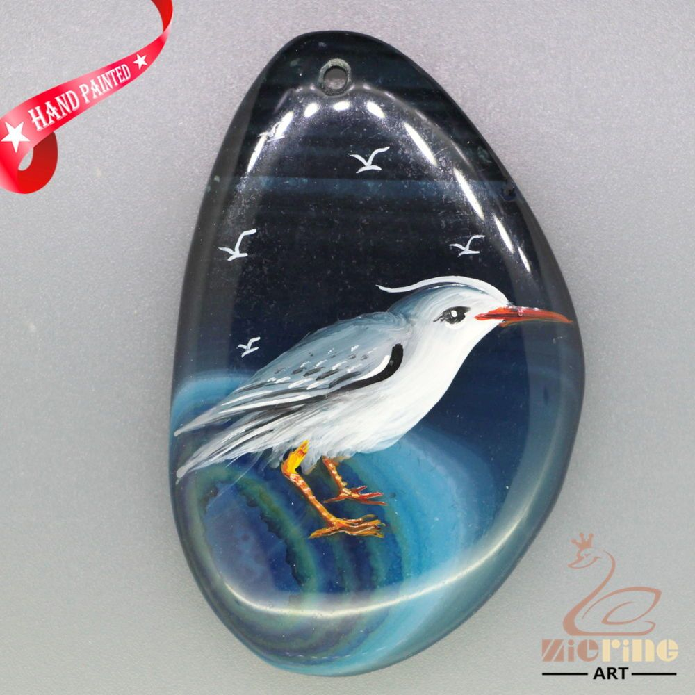 GORGEOUS HAND PAINTED BIRD GEMSTONE AGATE DIY PENDANT BEAD ZL8013523 #ZL #PENDANT