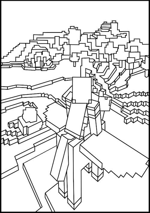 Minecraft Flying On Pegasus Coloring Page Minecraft Coloring