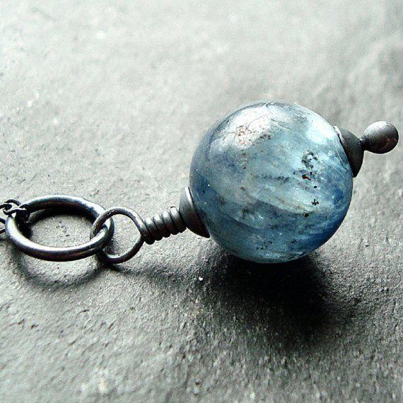Sparkly Ocean Blue Kyanite Oxidized Sterling Silver Necklace - Rachel