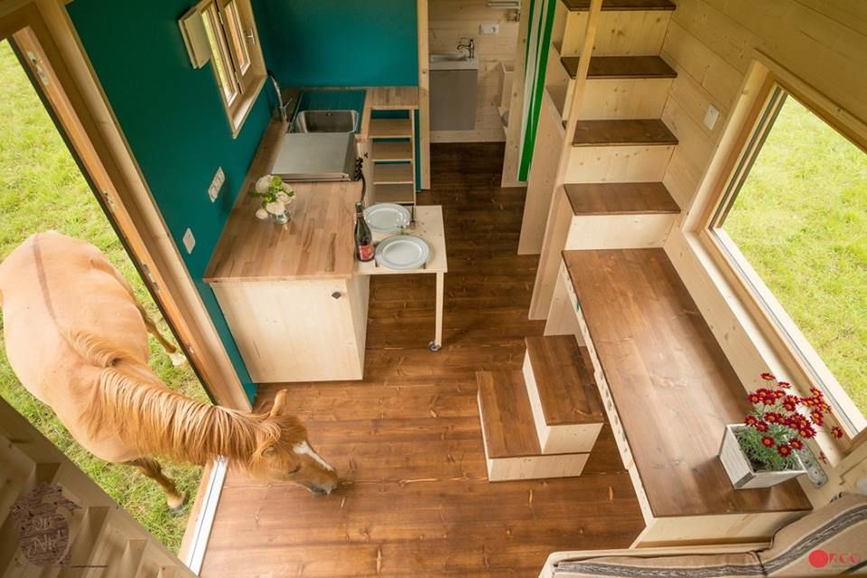 Convertible Roof Tiny House A Thow W A Retractable Ceiling House On Wheels Tiny House Movement Small Tiny House