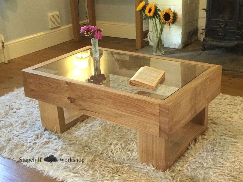 Wonderful Durdle Solid Oak Coffee Table With Glass Top, Chunky Rustic And Unique