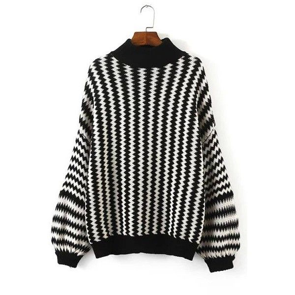 Yoins Yoins Monochrome Chevron Pattern Sweater (€26) ❤ liked on Polyvore featuring tops, sweaters, jumpers, black, shirts & tops, black sweater, crewneck sweater, black top, chevron top and black crew neck sweater