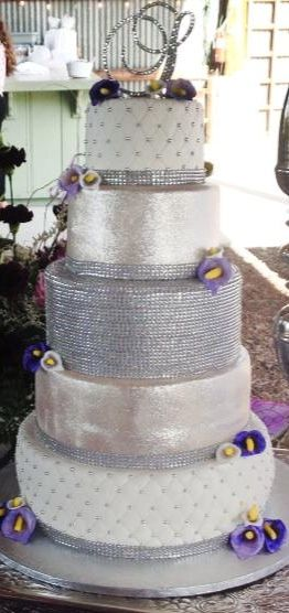Bling cake, Callas, Silver and White, Purple Flowers, Purple and Lavender Calla Lilies