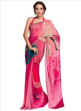 8fff5f7a9e Pink Satomi Pure Crepe Digital Printed Saree | saree design | Saree ...
