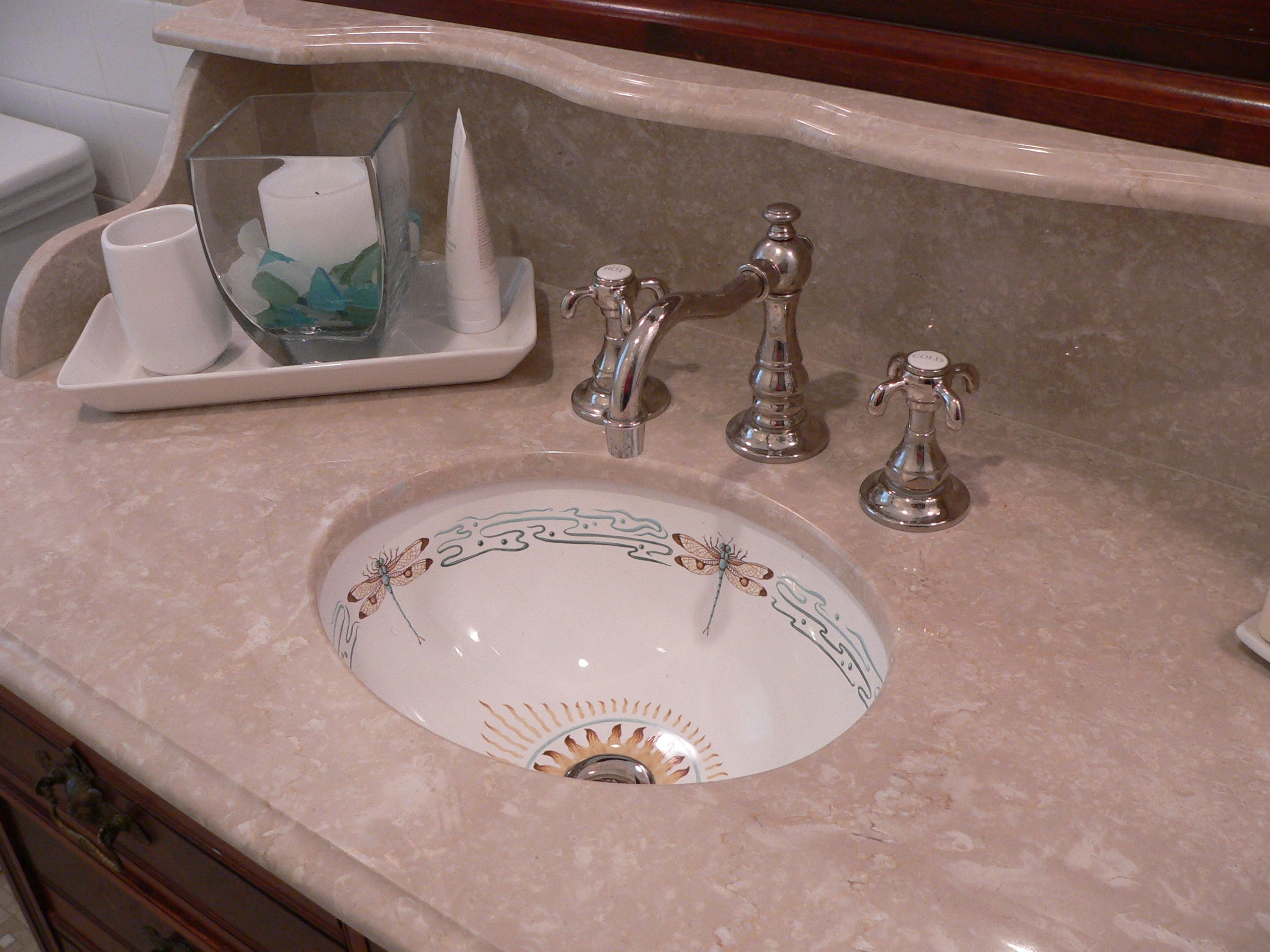 Dragonfly motif on sink painted by Annette Etcheverry from