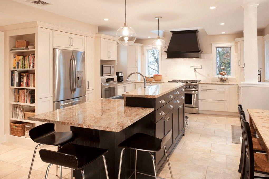 Split Level Worktops Modern Kitchen Island Kitchen Island Design Luxury Kitchen Island