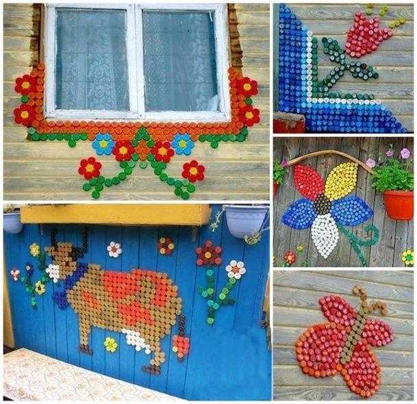 fresques murales avec des bouchons en plastique bottle caps plastic bottle caps. Black Bedroom Furniture Sets. Home Design Ideas