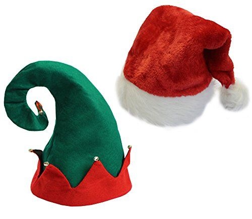Christmas Party Hats for Costume - Plush Santa Hat and elf - http://amzn.to/2zdwcqN