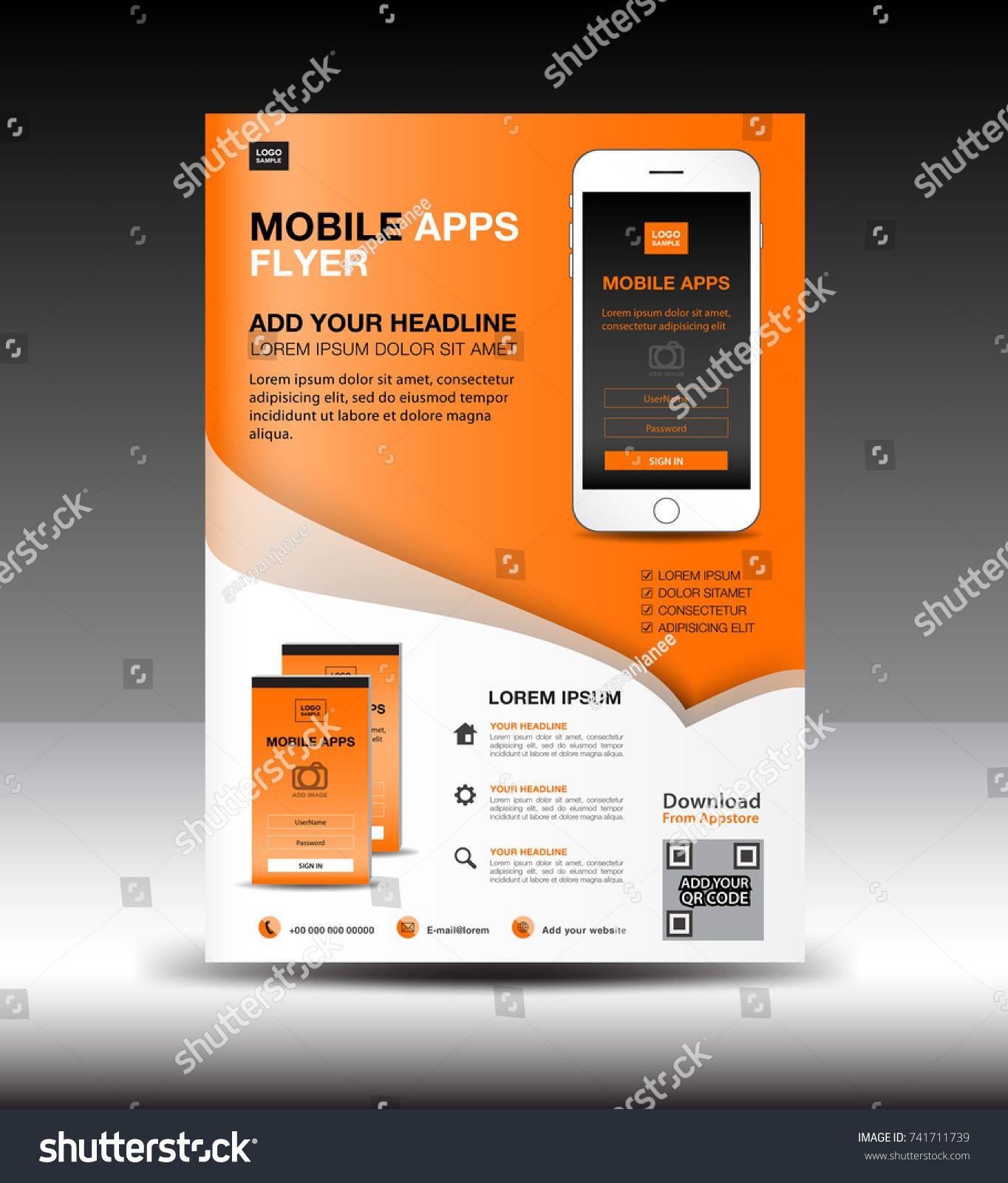 Mobile Apps Flyer template. Business brochure flyer design