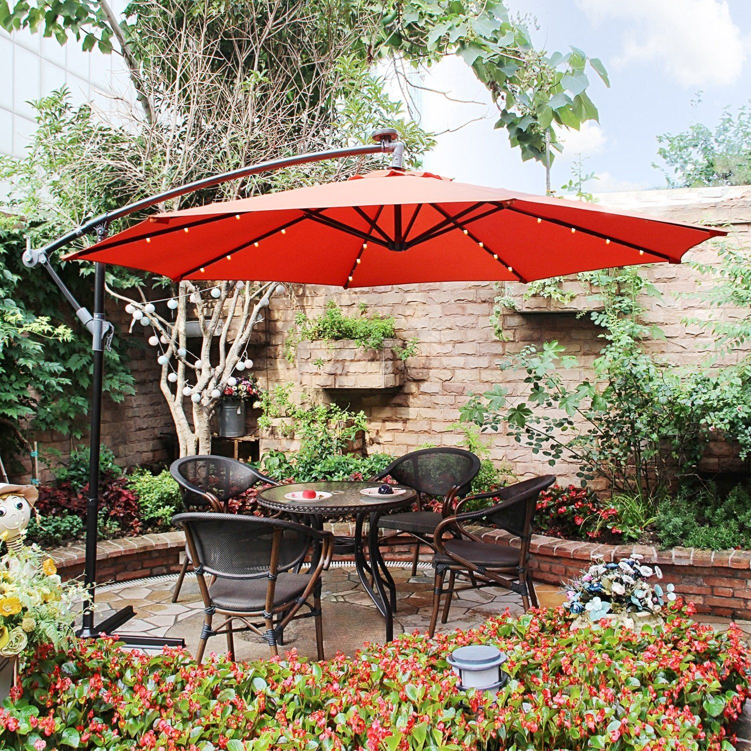 Bali Pro 10 Square Rotating Cantilever Umbrella With Lights Offset Patio Umbrella Patio Umbrella Patio Umbrellas