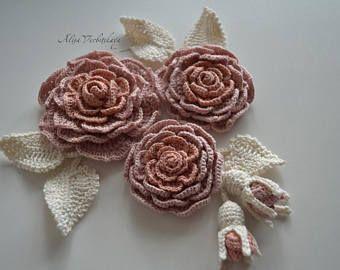 Set Blume DIY Kit Crochet Kragen Rose Blume 10er häkeln, die irische Blume Häkel Applikation häkeln Schmuck Halskette irischen gehäkelten Blume