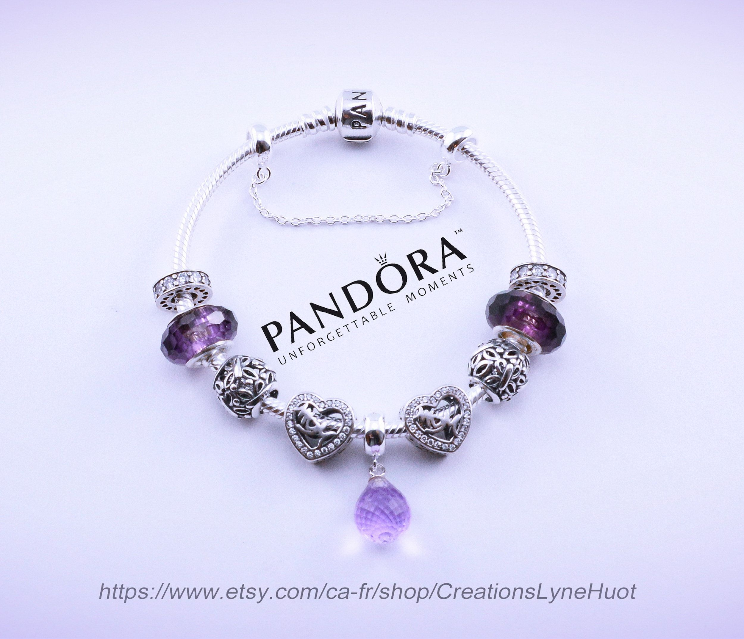 2 choix-Bracelet PANDORA argent sterling avec charmes en   Etsy ...