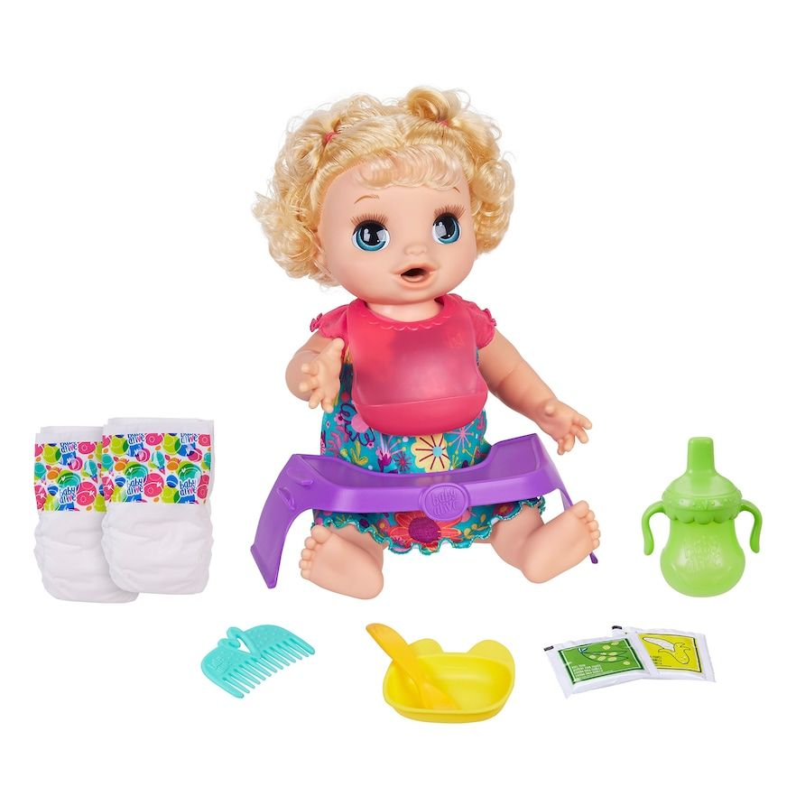 Baby Alive Happy Hungry Baby Blonde Curly Hair Doll In 2020 Baby Alive Interactive Baby Dolls Baby Dolls