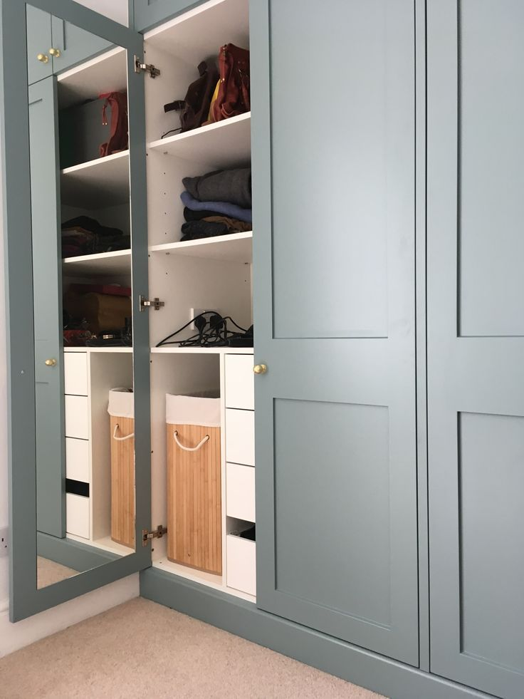 Built-in Wardrobe. Fitted wardrobe. Bespoke. Bedroom. Storage. Victorian Terrace. Farrow & Ball. Oval Room Blue. #myfabhome Farrow and Ball Time… – storage