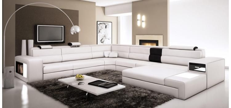 White Sectional Set With Two Decorative Lights Side Drawer And A Shelf Sofas Furniture Lafurniture Sec Conjunto De Sofa Decoracao De Interiores Decoracao