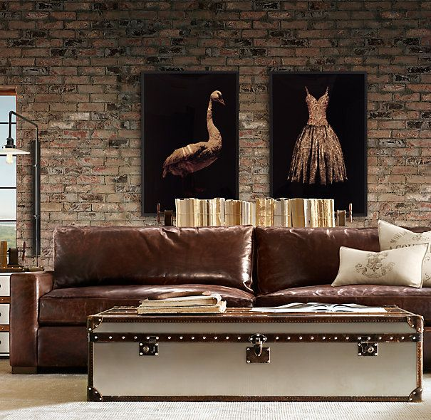 Dream sofa... Maxwell leather sofa from Restoration Hardware. Made for the enjoyment of long legged people.
