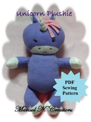 Unicorn Plushie PDF Sewing Pattern - Softie, Plushie, Stuffed Animal Toy Pattern - Instant Download, DIY