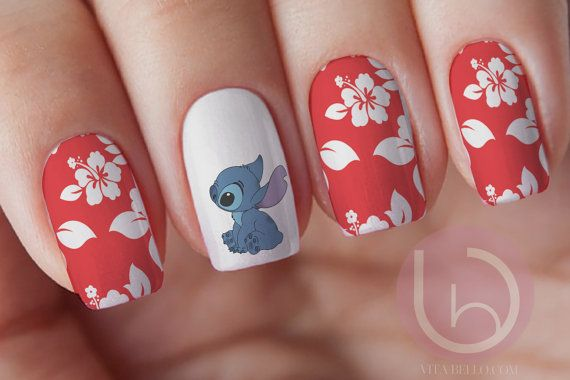 Stitch Nail Decal Waterslide Nail Design Nails Press On Nail Decal Nail Design Nail Artdisney Disney Nails Disney Acrylic Nails Disney Nail Designs