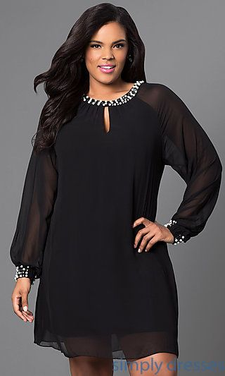 Short Chiffon Long Sleeve Dress  cf64842e4256