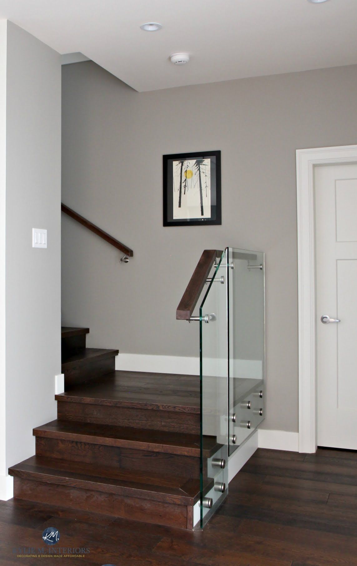 Sherwin Williams Dorian Gray In Contemporary Stairwell