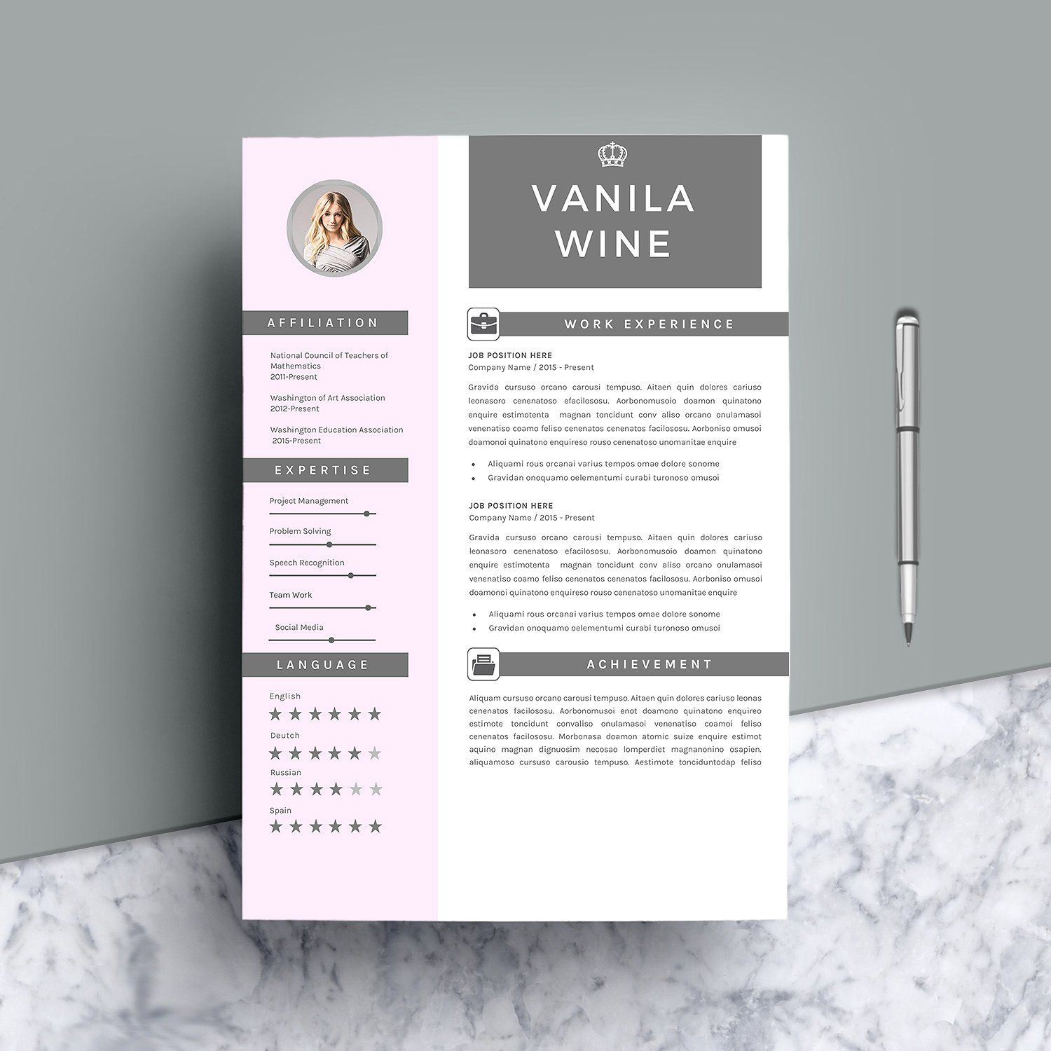 Creative Resume Template 4 Pages Cover Pages References