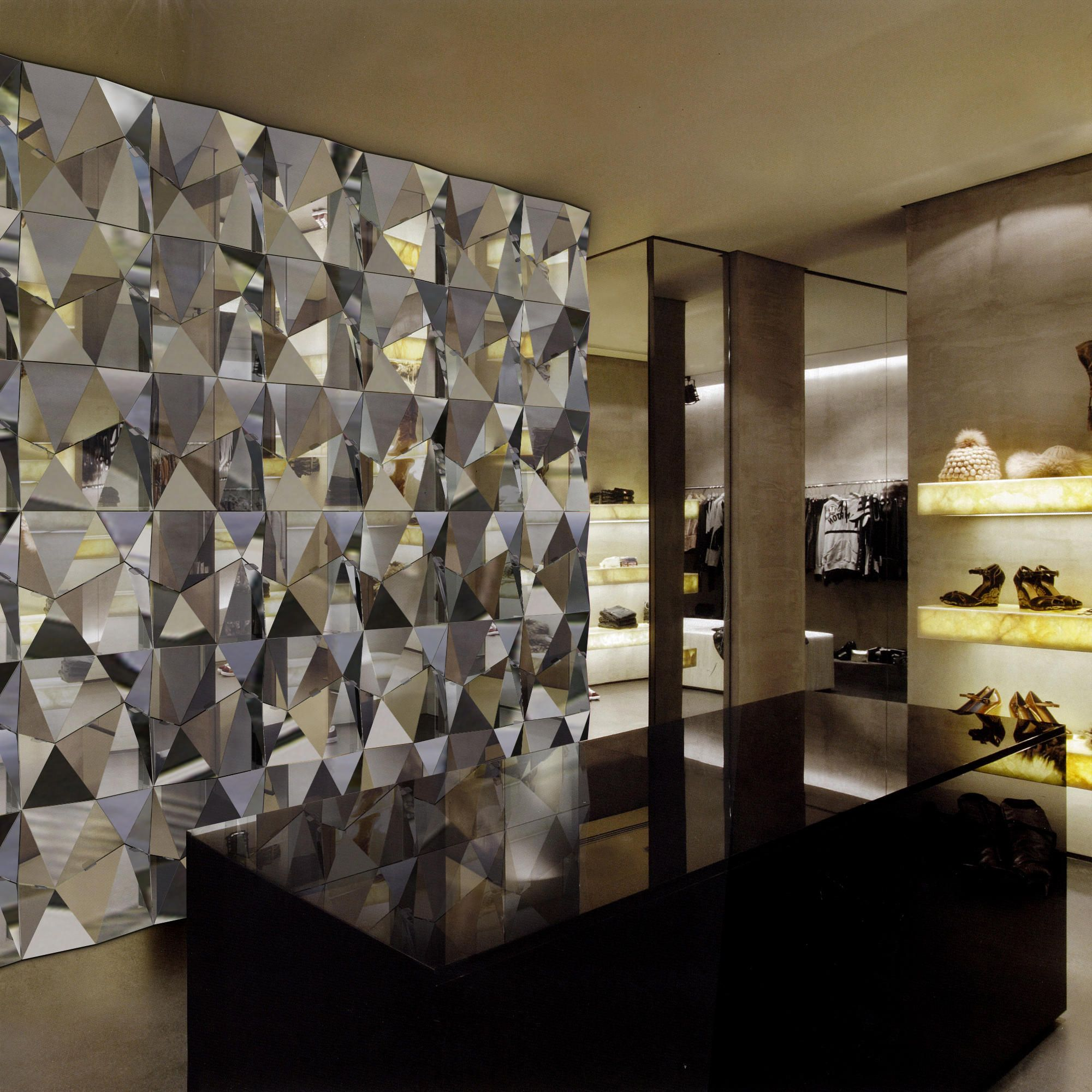 Wall Mounted Modular Polygon Facets In Mirror Composite Dimensions Shown 3000 X 3000mm 10 X 10 Materials Shown Acm Design Crystal Wall Custom Lighting