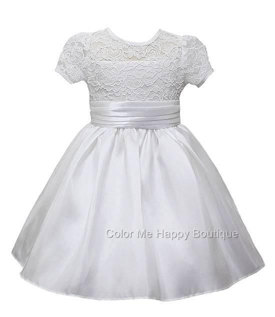 Delightful US-made white dress with lace bodice, pleated sash and taffeta skirt (girls sz.2-12) - flower girl, first communion, Easter ~ Color Me Happy Boutique