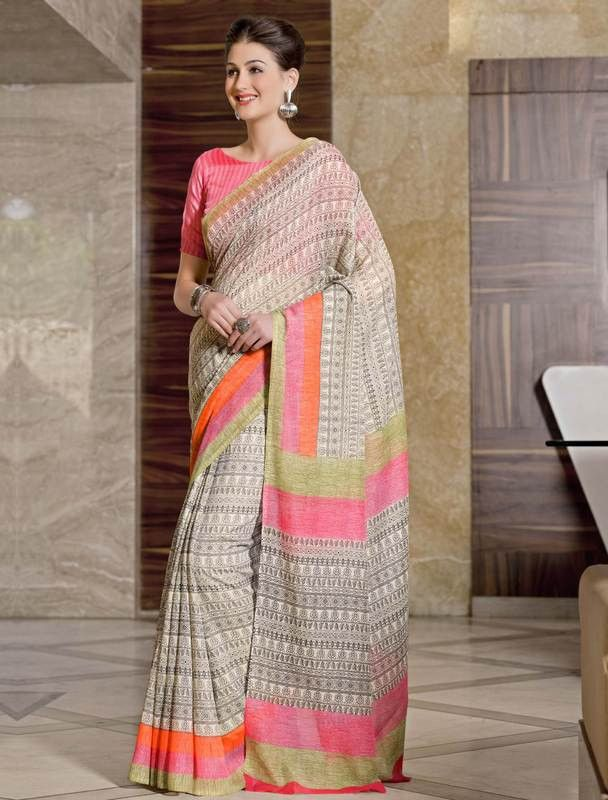 ce443d23cf2af1 YellowFashion.in — Cream & pink color bhagalpuri party wear sarees :  bhumija collection yf-33373 | Bhagalpuri sarees for party wear