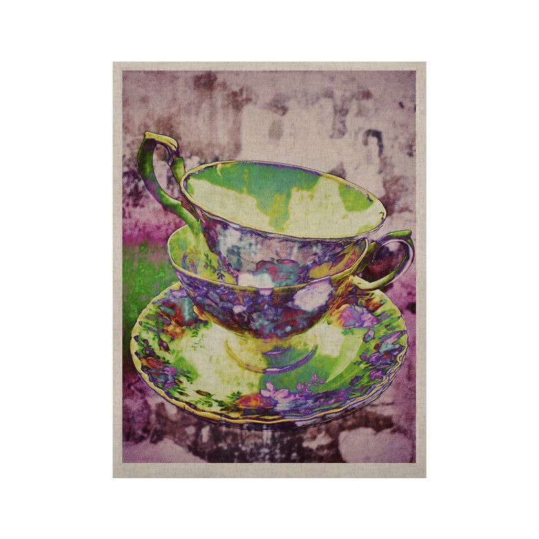 """alyZen Moonshadow """"Mad Hatters T-Party II"""" Pink Green KESS Naturals Canvas (Frame not Included)"""
