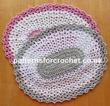 Pfc233 Oval Table Mat Crochet Pattern Crochet Placemat Patterns Placemats Patterns Crochet