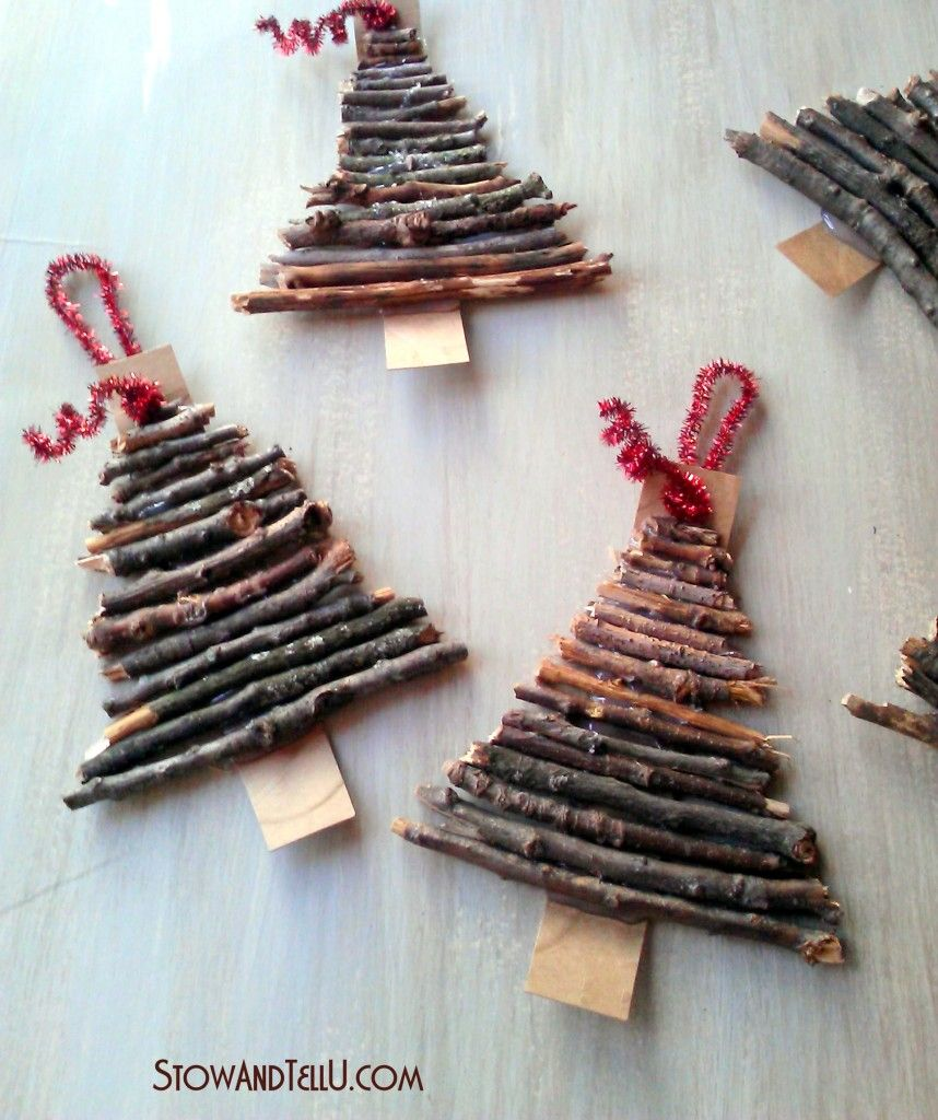 Rustic Christmas Craft Ideas Part - 24: Rustic Twig And Cardboard Christmas Tree Ornaments - StowandTellU