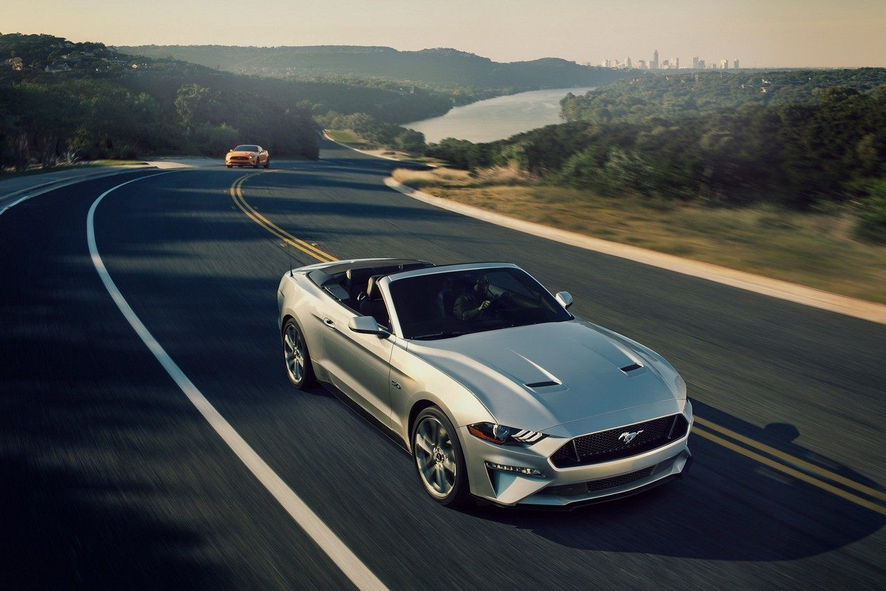 2019 Mustang Gt Premium Convertible In Ingot Silver On A Two Lane