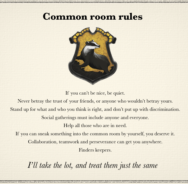 Hufflepuff Common Room Rules If You Can Sneak It Into The Common