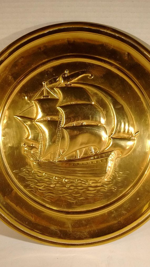 Vintage Brass Peerage Plaque From Scotland Of Ship Circa