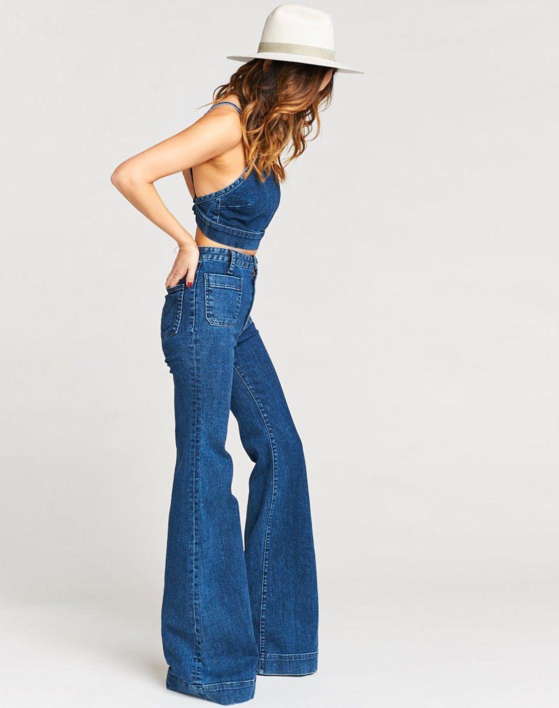 Farrah Trouser Flare Long ~ Downpour - Blue / 25