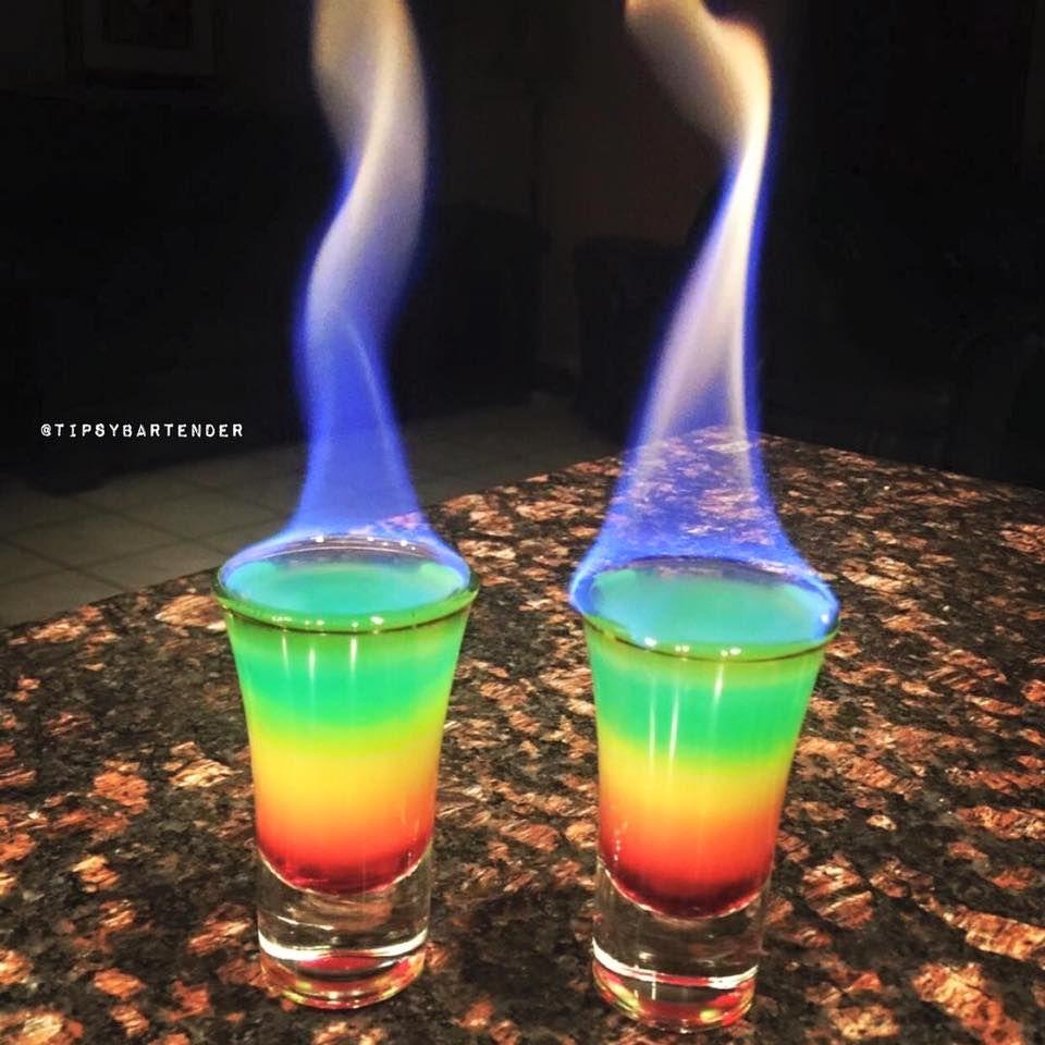 Flaming Rainbows Grenadine Orange Juice Vodka Club Soda Blue Food