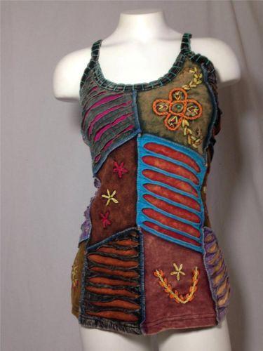 14e3e98653cf0 Cotton Embroidered Razor Cut Tank Top BoHo Hippie Fair Trade Nepal Size XL