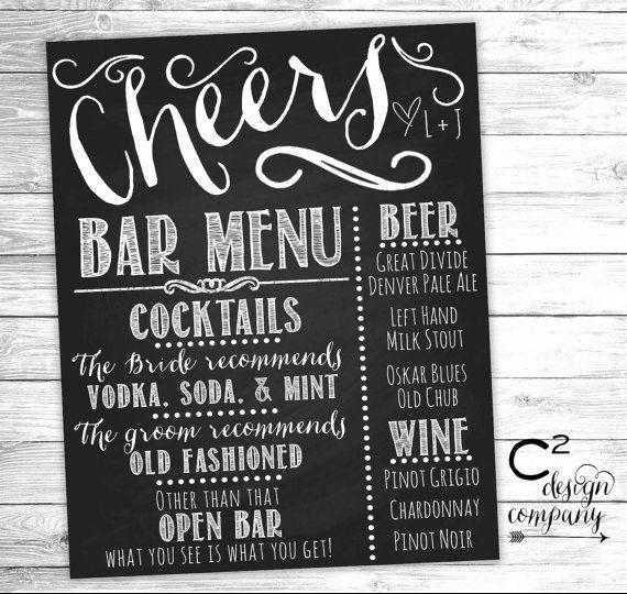 Cheers chalkboard wedding bar menu sign pizarra bar y boda for Pizarra para bar