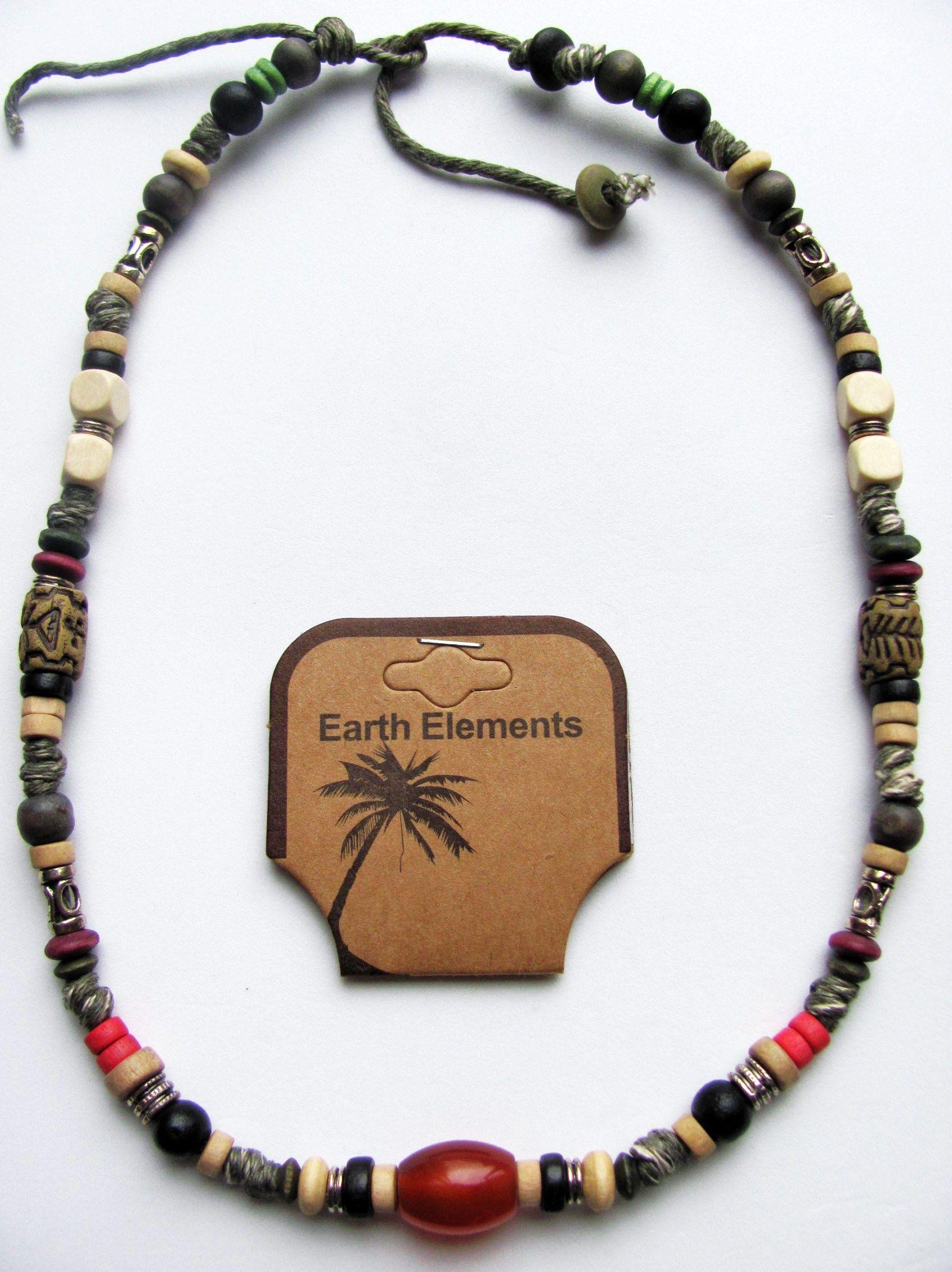 Bahamas Beach Earth Elements Necklace Spiritual Beaded Surfer Mens