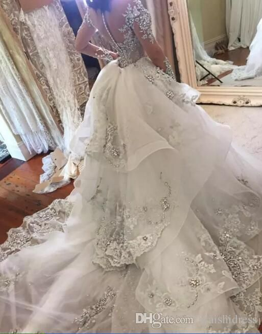 2018 Luxury Crystal Wedding Dresses With Detachable Skirt High Neck Long Sleeves Beaded Applique Gowns