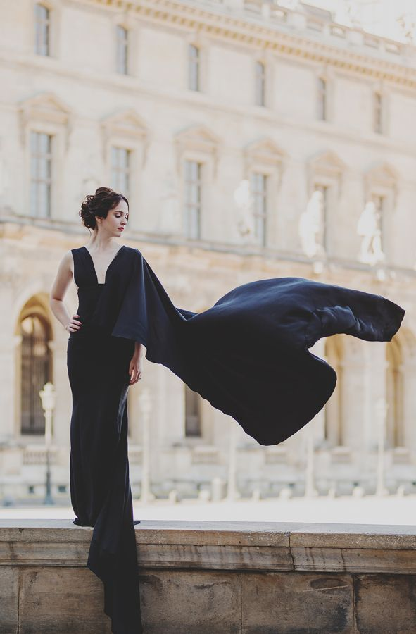 Sleek, black and caped: http://www.stylemepretty.com/vault/gallery/39045 | Photography: Claire Morris - http://www.clairemorrisphotography.com/