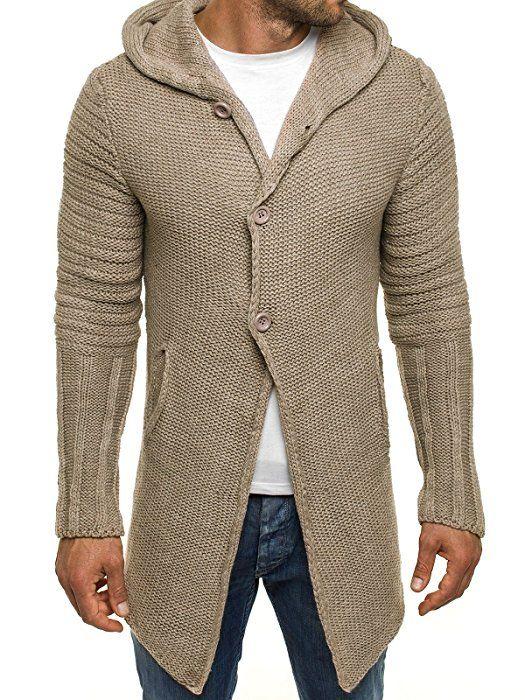 OZONEE Herren Strickjacke Kapuzenpullover Hoodie Sweatshirt