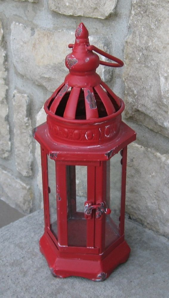 Farmhouse Red Lantern Candle Holder Primitive French Country Christmas Decor