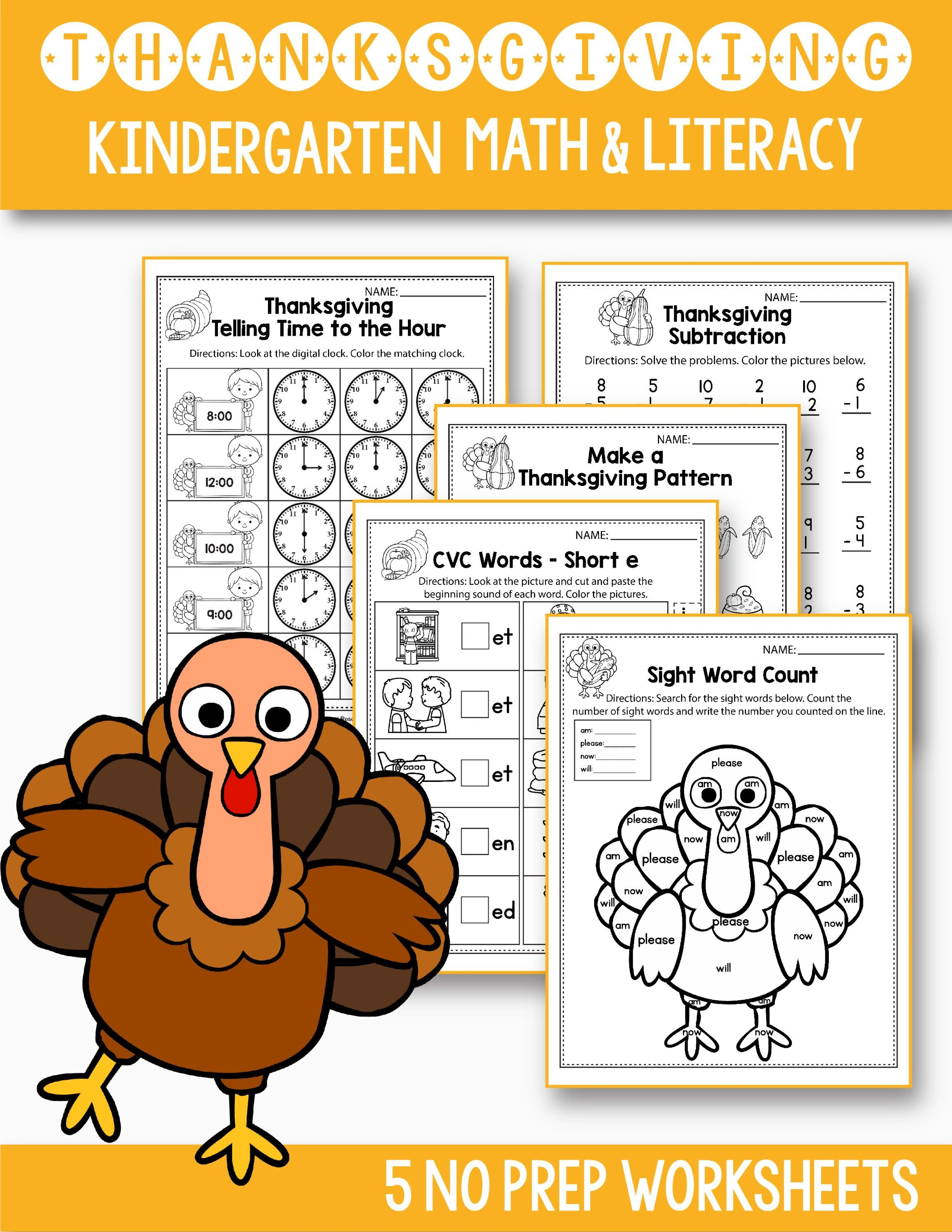 Thanksgiving Kindergarten Worksheets
