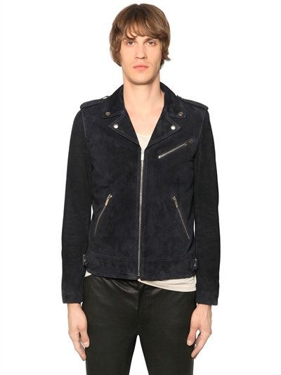 6a257f7656 THE KOOPLES SUEDE LEATHER BIKER JACKET, NAVY. #thekooples #cloth #leather  jackets