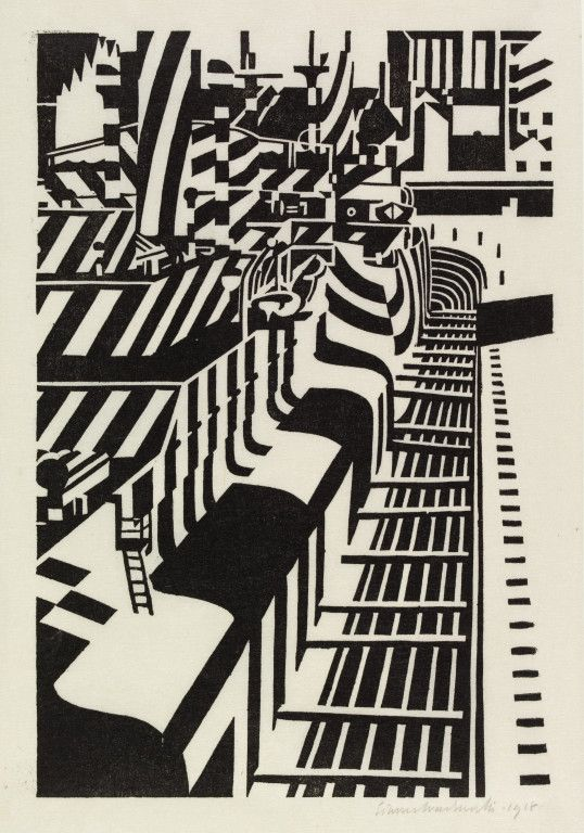 Dazzle-Ships in Drydock at.. by Edward Wadsworth   Giclee Canvas Print Repro