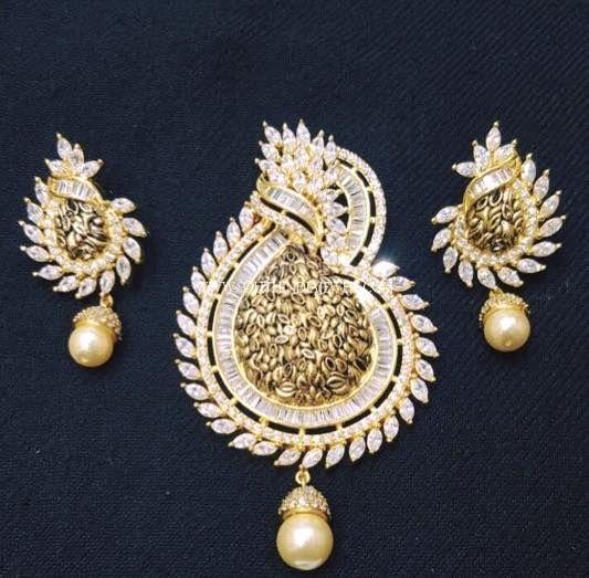 Diamond pendant with pearls nehag 533523 diamond pendent diamond ruby pendant set from tbz south india jewels aloadofball Gallery