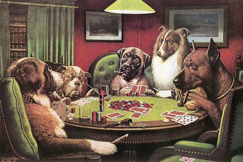 C.M Cooldige A Bold Bluff Dogs Playing Poker Art Print Poster Funny 24x36